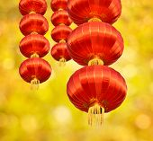 Chinese red lantern decoration in yellow background