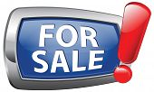 for sale vector icon selling or buying house car or apartment.