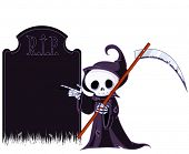 Cute Grim Reaper with scythe is pointing to tombstone.
