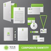 foto of letterhead  - Green geometric business company stationery template for corporate identity and branding set isolated vector illustration - JPG