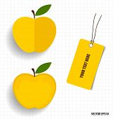 Cute note papers and apple, welcome back to school. Vector illustration.