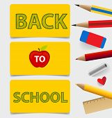 Welcome back to school. Cute note papers, vector illustration.