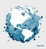 Modern  blue globe. Vector Illustration.