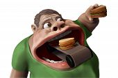 Fat Hungry Man Eating Hamburgers 3D Illustration