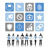 Vector of Diverse Business People with Security Symbols