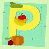 Letter-p-from-stylized-alphabet-with-fruits-and-vegetables