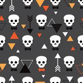 Seamless dark skull illustration halloween theme and geometric arrow details background pattern in v