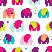 Seamless retro colorful elephant baby girl pattern wallpaper background in vector