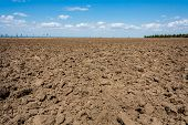 Ploughed Field On The Background Of The Blue Sky