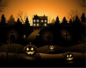 Orange Vector Halloween haunted house background