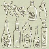 Set Of Bottle For Olive Oil, Vector