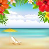 Beach Landscape, With Gradient Mesh, Vector Illustration
