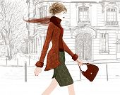 Young woman walking in a street of Paris - Vector illustration