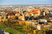 Aerial view of Royal Wawel castle with park in Krakow, Poland.