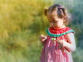 little girl with wild flower