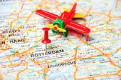 Rotterdam,holland Map Airplane
