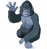 Illustration of cute cartoon gorilla waving hello