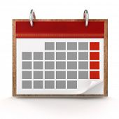 3d calendar on white background
