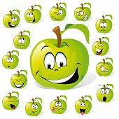 pic of rogue  - green apple with many expressions  - JPG