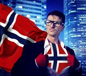 Businessman Superhero Country Norway Flag Culture Power Concept