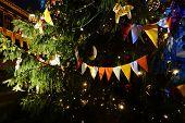 Christmas tree flag garlands