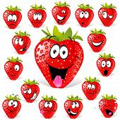 foto of rogue  - strawberry cartoon with many expressions  - JPG
