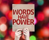 Words Have Power card with colorful background with defocused lights