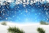 Winter abstract blue background with spruce twigs and snow. Christmas vector wallpaper. Eps10.