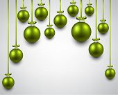 Abstract arc background with green christmas balls. Vector illustration.
