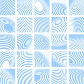 Abstract blue striped backdrops set. Vector art.