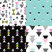 Seamless colorful geometric tribal aztec hand drawn background set collection pattern in vector