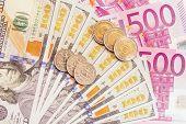 European and american money.