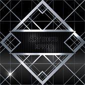 Art deco geometric pattern silver