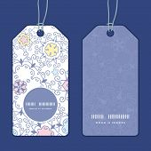 Vector ornamental abstract swirls vertical round frame pattern tags set