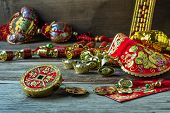 Chinese new year festival decorations on wooden table