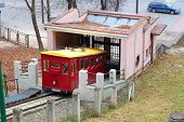 image of a Kaunas, Lithuanian - November, 17, 2014: funicular in the old town.