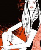Young pretty girl in orange - Vector illustration