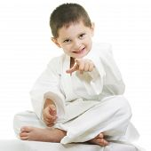 Little Karate Kid Pointing Forward
