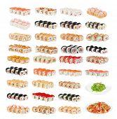 Set of sushi fresh rolls isolated
