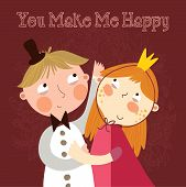 You Make Me Happy. Romantic Concept Background With Cute Boy And Girl In Bright Colors.