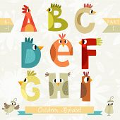 Very Cute Children Alphabet Made Of Characters Birds In Vector . Part I. Learn To Read. Isolated.alp