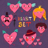 Cute Hearts Vector Set. Ideal For Valentine's Day And Weddingin A Colorful Style.
