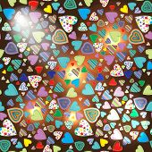 Seamless Pattern Of Colorful Hearts On A Dark Background With Illumination