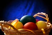 Easter Eggs With Yellow Ribbon