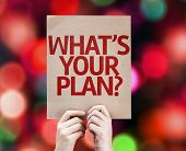 Whats Your Plan? card with colorful background with defocused lights