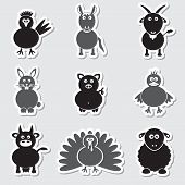 Farm Animals Simple Stickers Set Eps10