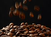 Brown Coffee Beans Falling Down