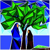 Arab Family Pregnant Mother And Daughter Mosaic