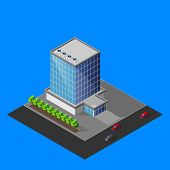 vector illustration of isometric business center building