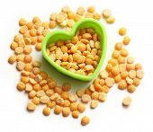 Heap Of Peas And Heart Form
